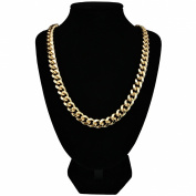 "Mens 24k Gold Plated Curb Chain Heavy Necklace 30"" Long 10mm Wide New"