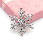 HuaYang Elegant Crystal Rhinestone Snowflake Design Wedding Bridal Pin Brooch Xmas Decor