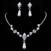 Women's Party Wedding Jewellery Sets Faux Pearls Rhinestone Bride Necklace & Drop Earrings
