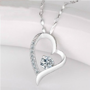 Platinum White Gold Plated Sterling Silver 925 Necklace Simple Heart Shape
