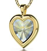 Gold Filled Heart Pendant - I Love You Jewellery Inscribed in 120 Languages on Purple Amethyst Cubic Zirconia Gemstone