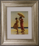 Pink and Saffron by Jack Vettriano Framed Art Print Picture (33cm x 28cm) Silver Frame