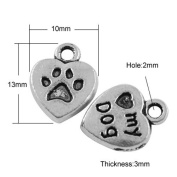 Pack of 30 x Antique Silver Tibetan 13mm Charms (PAW PRINT) - (HA07930) - Charming Beads