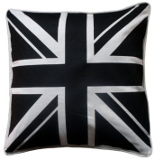 Luxury 100% Cotton Cushion Cover - union Jack Black & White - By Adamlinens