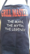 'Grill Master, The Man, The Myth, The Legend' motif on Navy Blue Apron with pocket