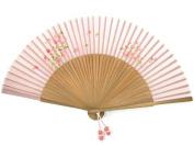 Hand fan with bamboo & silk, handmade gift, pink flower