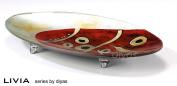 Diyas Livia IL70227 Glass Art Platter - Red/Gold/Black