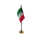 Pack Of 6 Kuwait Kuwaiti Desktop Table Centrepiece Flag Flags With Gold Bases Ideal For Party Conferences Office Display