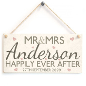 Mr & Mrs Happily Ever After Hearts - Personalised Surname & Date Wooden Sign Gift