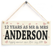Mr & Mrs Years Together Anniversary - Any Year Personalised Wedding Anniversary Wooden Sign Gift
