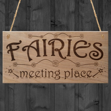 Red Ocean Fairies Meeting Place Sweet Cute Funny Plaque Wooden Hanging Sign Fairy Garden House Lover Gift