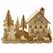 WeRChristmas 28 cm Pre-Lit Wooden House Snow Reindeer Scene with Tree Window Christmas Decoration Illuminated with Warm White LED Lights