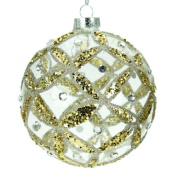 Clear Glass Christmas Bauble With Glitter Trellis