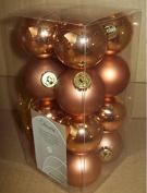 16 Luxury Shatterproof Mini Christmas Baubles Decoration Copper Orange Almond