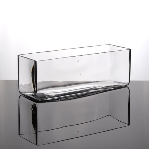 Solavia Glass Rectangular Low Flower Bunch Vase 30cm Long Wedding