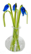 Beautiful Glass Ornament Sculpture Bluebell Flowers In Vase