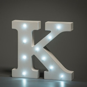 Up in Lights Decorative LED Alphabet White Wooden Letters - Letter K