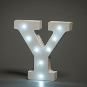 Up in Lights Decorative LED Alphabet White Wooden Letters - Letter Y