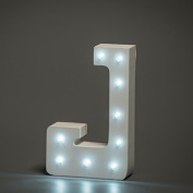 Up in Lights Decorative LED Alphabet White Wooden Letters - Letter J
