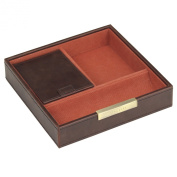 STACKERS - Men's Casual Brown Square Valet STACKER with Orange Canvas Lining