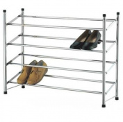 BRAND NEW 4 TIER CHROME EXTENDING SHOE RACK STORAGE STAND ORGANISER HOLDER STACKABLE