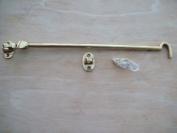 "Ironmongery World 12""/300mm Solid Brass Non Rattle Cabin Hook Door Gate Hook & Eye Silent Type"