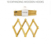 Expanding Expandable Wooden 10 Hooks Pegs Wallmount Coat Hat Cloth Storage Rack