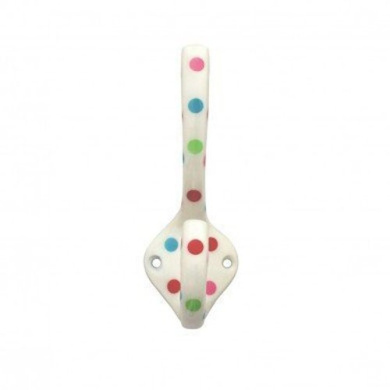 Spotty Tall Double Coat Hook Cream with Multicoloured Spots
