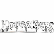 "Chrome Plated Solid Brass "" HOUSE KEYS"" Key Hook 5 Hooks Wall mounted Holder Rack including fixings"