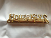 "Solid Brass "" HOUSE KEYS"" Key Hook including wall fixings, 5 Hooks Wall mounted Holder Rack including fixings"
