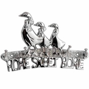 """Chrome Plated Solid Brass Duck Family """" HOME SWEET HOME """" House Car Key Hook 5 Hooks Wall mounted Holder Rack including fixings"""