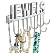 """Jewellery Holder Wall Hooks with """"Jewels"""" Lettering for Chains and Jewellery Chrome-Plated Metal Width 20 x Depth 4 x Height 12 cm"""