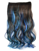 Stepupgirl 60cm Dark Brown Sky Blue and Sapphire 3 Mixed Colour Curly Curl Wavy Full Head Clip in Hair Extension with Souvenir Card