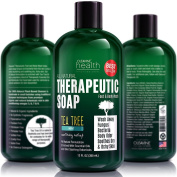 Antifungal Soap with Tea Tree Oil & Neem. Helps Treat Athletes Foot, Ringworm, Jock Itch, Nail Fungus, Acne. 350ml Therapeutic Foot & Body Wash. 100% Natural Care & Defence Against Skin Irritation.