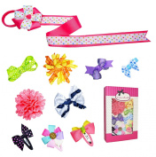 Girl Toddler Baby Ribbon Hair Clip (9pc clips + 1 clip holder) Set B by ColorBeBe