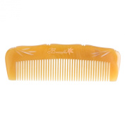 Breezelike No Static Tibeten Yak Horn Pocket Comb with Bamboo Carving