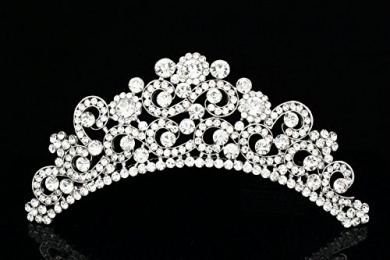 Floral Bridal Rhinestone Crystal Prom Wedding Tiara Hair Comb T817