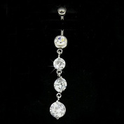 Delicate White Plated Crystal Zircon Tassel Dangle Navel Belly Button Ring Bar Piercing