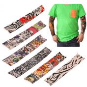 LEMONBEST 6 pcs Nylon Fake Temporary Tattoo Sleeves Sun Protection Arm Stockings Accessories Kit For Men Women Halloween Costume