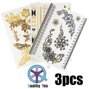 QY 3 Different All-in-one Sheets Gold Silver Black Bling Metallic Temporary Tattoos