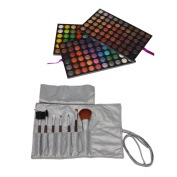 Mefeir® 9.02 x 15cm x 2.4cm Professional 180 Colours Foundation Makeup Cosmetic Camouflage Concealer Eyeshadow Palette + 7pcs Powder Brush Eyebrow Comb Brushes Set with Bag Silver