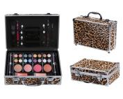 Cameo Cosmetics Premium 51pc Beauty Case Make Up Set with Reusable Aluminium Leopard Case - Eyeshadows, Lipsticks, Blushers, Lip Glosses, Brushes, Mirror Box, Applicators, Pencils