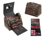 Cameo Cosmetics 86pc Premium Make Up Set with Reusable Brown Leopard Bag - Eye Shadows, Lip Colours, Lip Balms, Face Powders, Blushes, Lip Sticks, Lip Glosses, Pencils, Brush, Applicators