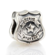 Hoobeads Protect Serve Police Officer Badge Authentic 925 Sterling Silver Charm Fits Pandora Chamilia Biagi Troll Beads Europen Style Bracelets