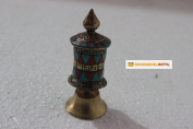 Tibetan Buddhist Stone Setting Table Top Prayer Wheel 8.9cm - Hancrafted in Nepal