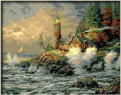 PaintingStudio The waves of the sea Courage by Thomas Kinkade Lakeside house DIY oil Painting by number kit picture on wall gift 41cm x 50cm Frameless