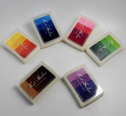 CHENGYIDA 6PCS Rainbow Ink Pad Set - Contains 24 Hues of Waterbase, Easy Clean-up Inks - For Use with Small Rubber Art / Craft Stamps ,on paper ,wood fabric,ect