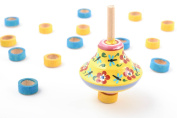 Bright painted wooden spinning top eco toy for children