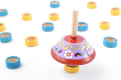 Bright painted homemade wooden eco toy spinning top for children