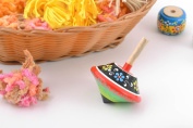 Beautiful painted handmade wooden spin top for children eco toy